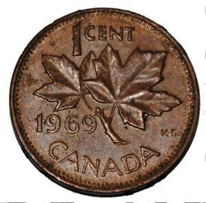 Canada 1969 1 Cent Copper One Canadian Penny Coin Ebay