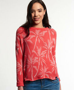 Superdry-Mujer-Jersey-de-punto-Palm-Print-Slouch-Pink-Pop