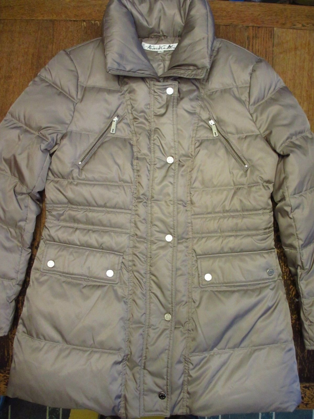 Kenneth Cole New York Long Down Coat Womens L Quilted 32  Flattering Shape