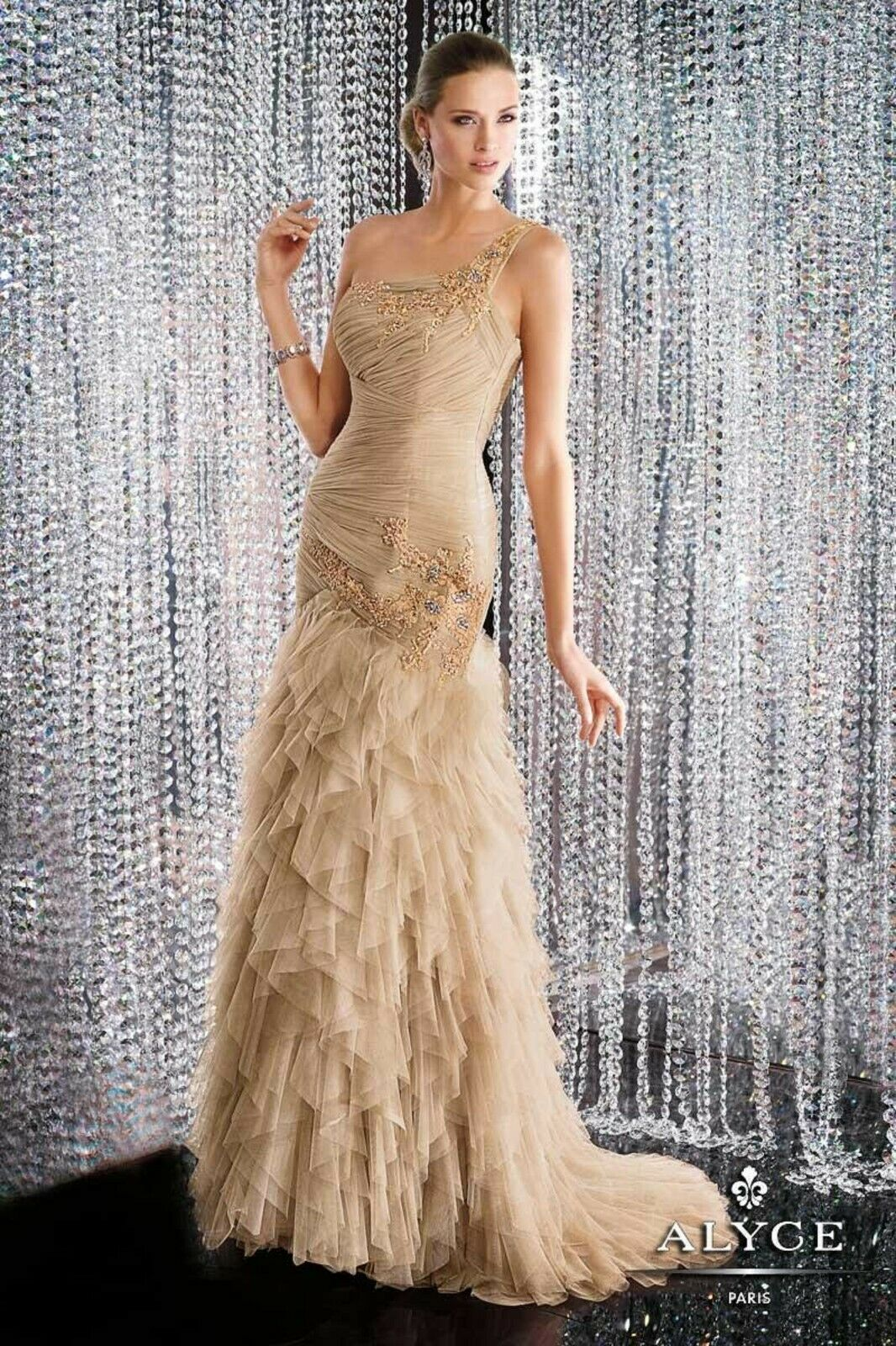 NWT Alyce Black Label 5560 Honey size 10 tulle mermaid style formal PROM gown