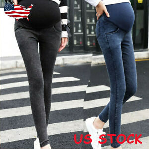 Women-Maternity-Pregnancy-Skinny-Trousers-Jeans-Over-The-Pants-Elastic-Stretch