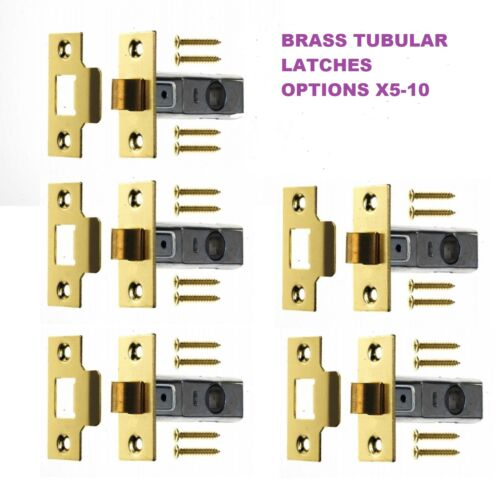 "BRASS FINISH 2.5/"" 64mm Internal Door Catch D3 MORTICE TUBULAR LATCH Options"