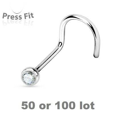 Nose Ring Wholesale Lot 100 Surgical Steel Nose Screw with Clear Cz Gem