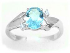 #R1165 1.5ct Swiss Blue Helenite Checkerboard Oval Accented Sterling Silver Ring