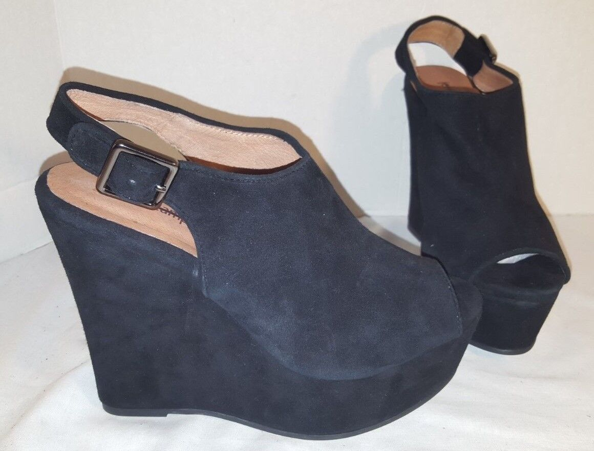 NEW JEFFREY CAMPBELL DEXLER noir SUEDE PEEP TOE PLATFORM SANDALS WOMANS US 7