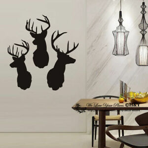100x95cm-Three-Deer-Head-Removable-Wall-Stickers-Vintage-Decor-Decal-Art-Mural