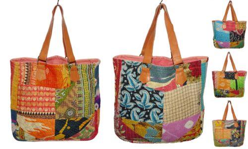 Women Vintage Kantha Shoulder Bag Patch Pure Leather Strap Handbag 10Pc Lot Bag