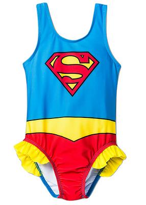 GIRLS RULE Swimsuit Tankini Superhero Batgirl Wonder Woman Supergirl  Size 2T 3T