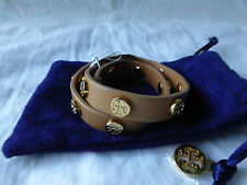 Tory Burch Double Wrap Logo Stud Royal Tan Leather Cuff Bracelet Reversible NWT