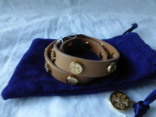 Tory Burch Double Wrap Logo Stud Royal Tan Leather Cuff Bracelet Reversible Nwt