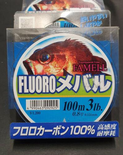 Yamatoyo Fluro Mebaru Blue Flurocarbon Fishing Line 100m 3lb #.8
