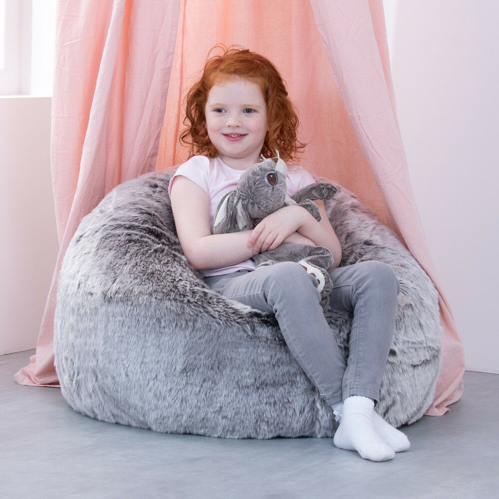bfd393bbad Icon Large Childrens Classic Faux Fur Bean Bags - Arctic Wolf Grey ...
