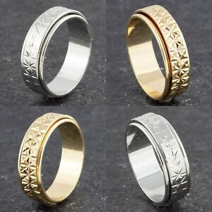 6mm-Gold-or-Silver-Plated-Ring-Womens-Ladies-Mens-Elegant-Spinner-Wedding-Band