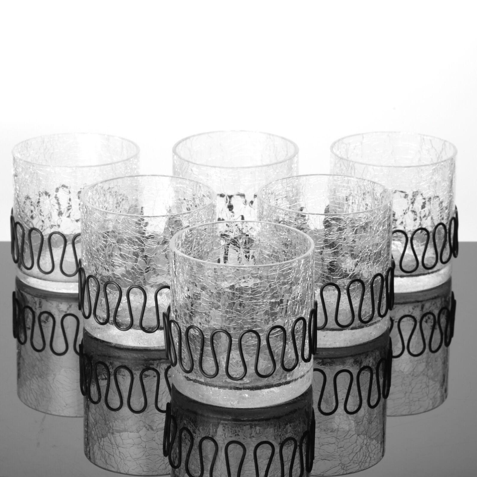6 Becher Gläser Tumbler Eis Glas Krakelee Kraklé Craquelé Craquele Craquele Craquele Krakele 60er | Hohe Qualität und günstig  1d96dc