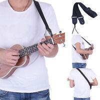 Adjustable Guitar Ukulele Strap Belt Ukuleles Sling Black Nylon PU Leather Head