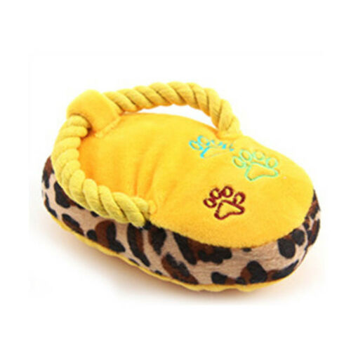 For Dog Cat Pets Cute Rope Plush Slipper Shape Pets Supplies Toy Squeaky Sound