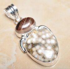 "Handmade Natural Ocean Jasper Gemstone 925 Sterling Silver Pendant 2.25"" #P11180"