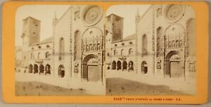 ITALIE-Cathedrale-de-Come-Photo-Stereo-Jean-Andrieu-Vintage-Albumine-ca-1868