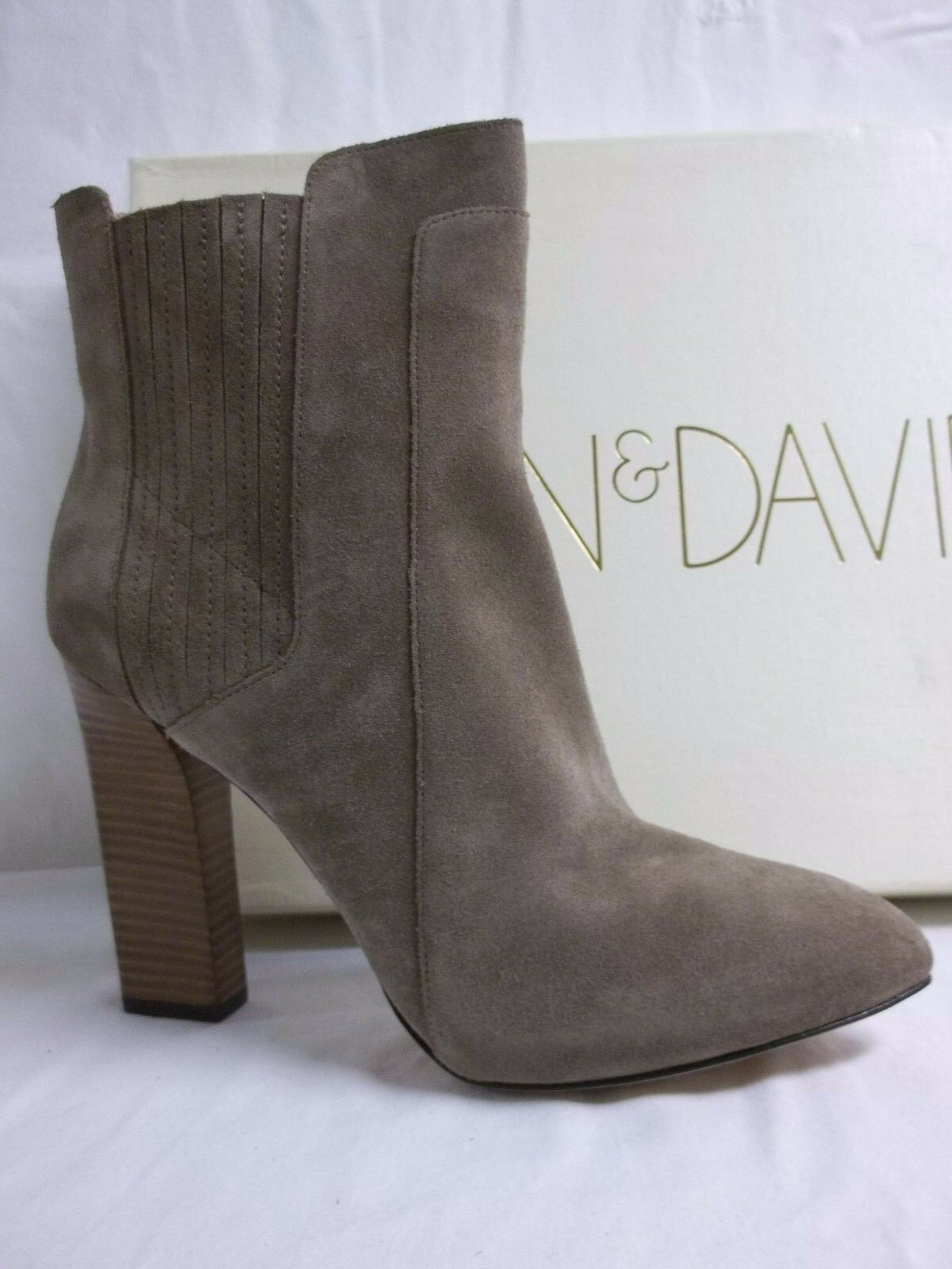 Joan & David Size 11 M Praxy Taupe Suede Booties Heels New Womens Shoes