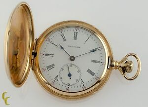 Waltham-Full-Hunter-14k-Yellow-Gold-Pocket-Watch-15J-Size-6S-Seaside-1900