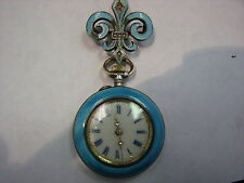 Antique Women's GUILLOCHE Blue Enamel Pocket-watch, Sterling Fleur de Lis Pin