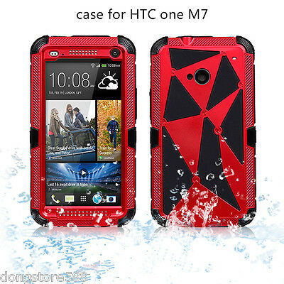 Shockproof Iron Man Metal Aluminum Toughened Glass Screen Case For HTC M7/M8