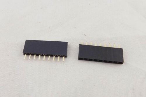 50pcs Pitch 1x 9 Pin 2.54mm Female Single Row Straight PCB Header Strip Socket