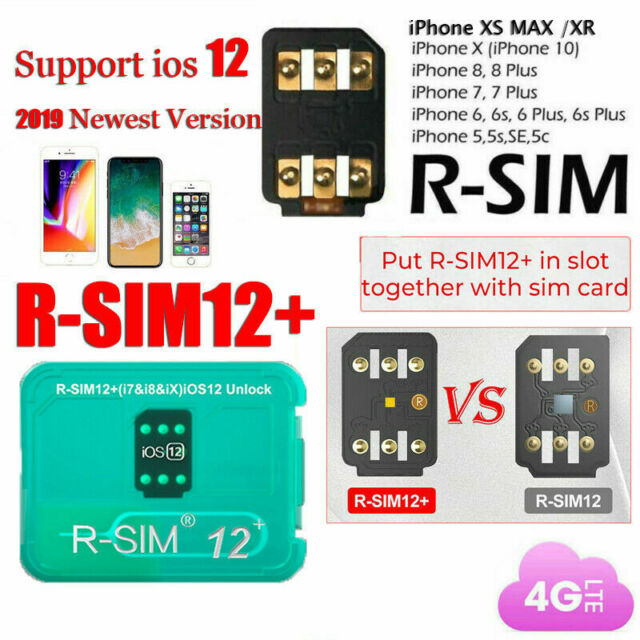 RSIM 14 12+ 2019 R-SIM Nano Unlock Card for iPhone X/8/7/6/6s/5S 4G iOS  12 3 Lot
