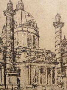 evt-Alexander-GERBIG-1878-1948-Radierung-1940er-Jahre-KARLSKIRCHE-IN-WIEN
