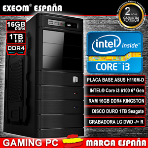 ORDENADOR-PC-GAMING-INTEL-i3-6100-6-GEN-1TB-HDD-16GB-DDR4-JUEGOS-MARCA-ESPANA
