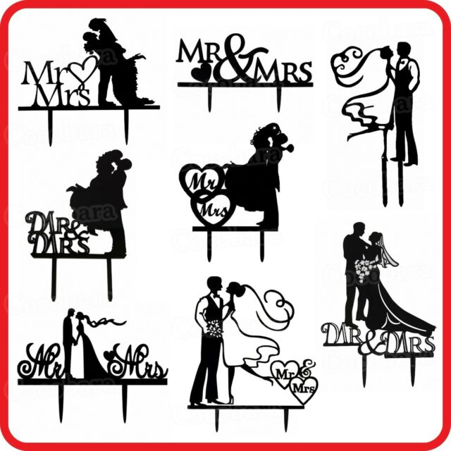 MR & MRS ACRYLIC CAKE TOPPER WEDDING BRIDE GROOM ENGAGEMENT-PARTY-DECORATION