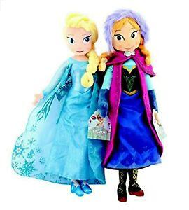 Disney-Frozen-Set-of-14-034-35-56cm-Detailed-Plush-Elsa-and-Anna-Doll-Set-New