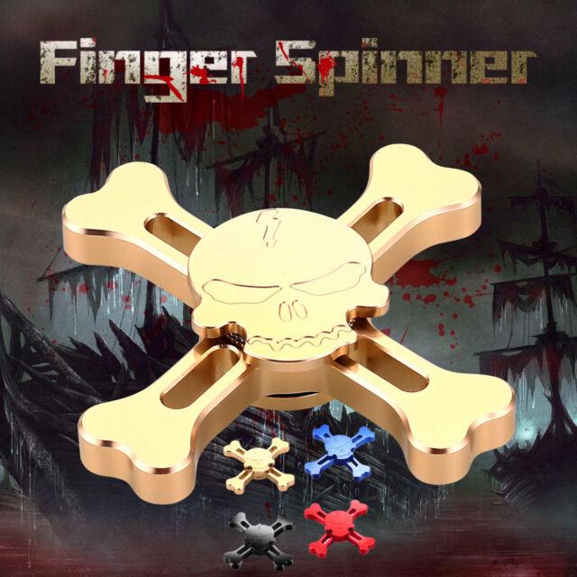Skull Brass Metal Hand Finger Spinner Tri Fidget Gyro Desk Toy EDC Focus Gifts