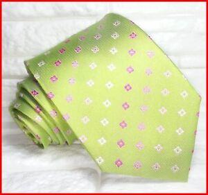 Belle Cravatta Uomo Jaquard Verde E Rosa Made In Italy Seta Business Matrimoni Rp€ 40