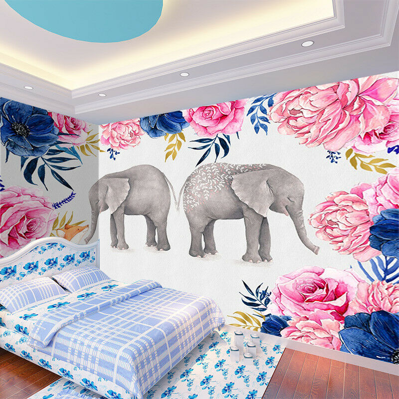 3D Elephant Flowers 724 Wallpaper Mural Paper Wall Print Wallpaper Murals UK