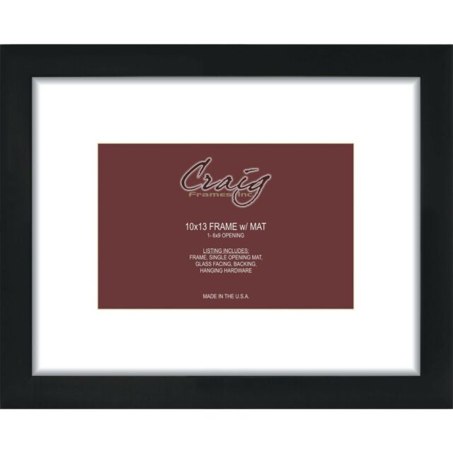 Craig Frames 10x13 Picture Frame With White 6x9 Single Opening Mat