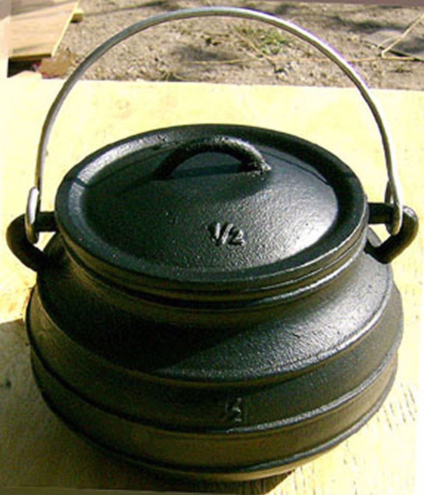 Cast iron Flat Potjie Bean Pot Kettle Survival Reenactment