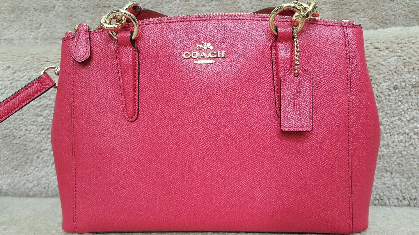 Coach Small Kelsey Black Gha Mini Christie Carryall Bag In Crossgrain Leather Bright Pink F57523 Ebay