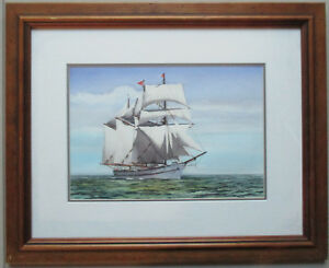 Nice-John-Ford-Maritime-Painting-watercolor-32cm-x-22cm-nautical-Ships-Seascape