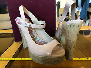 57d3d936d1f74 Details about Next High Heels Sexy Open Toe Slingbacks Size UK 6 Nude Faux  Wood