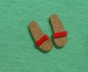 Vintage Ken Doll Clothes - Vintage Ken Red Cork Original Sandals