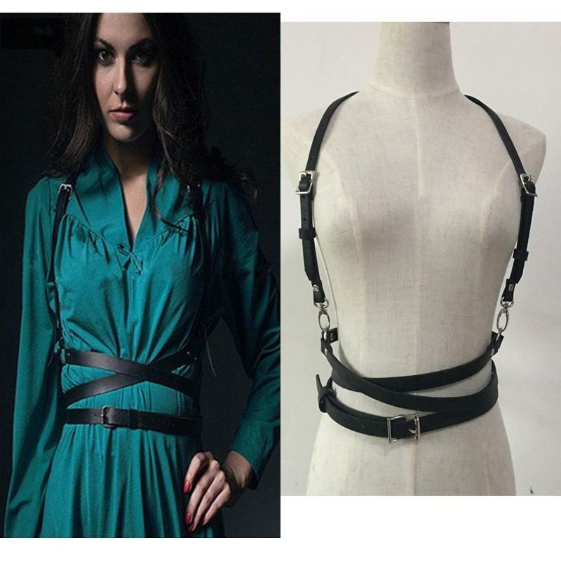 Women Leather Harness Punk Gothic Wrap Strap Body Belt Cage