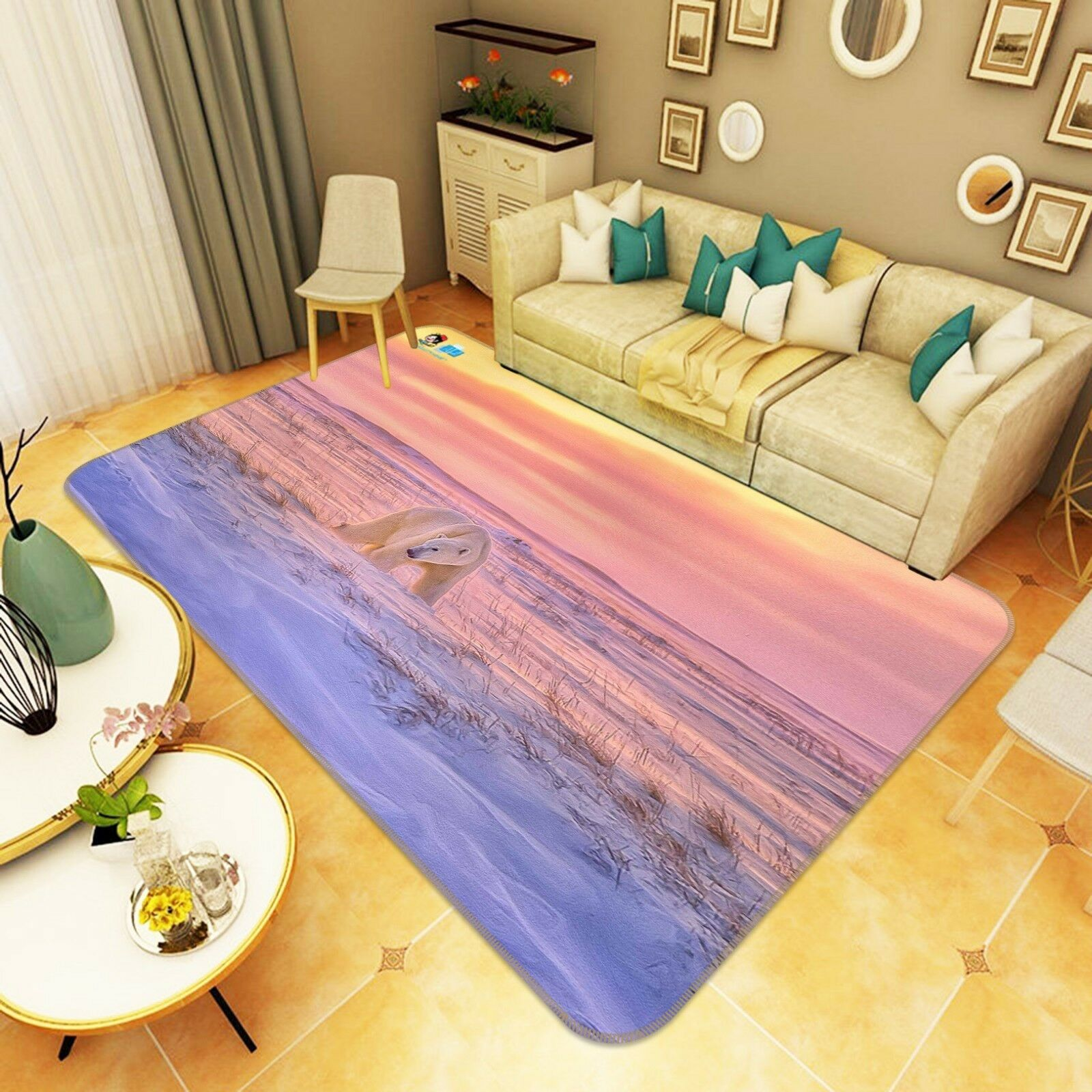 3D Snow Polar Bear 888 Non Slip Rug Mat Room Mat Quality Elegant Photo Carpet US
