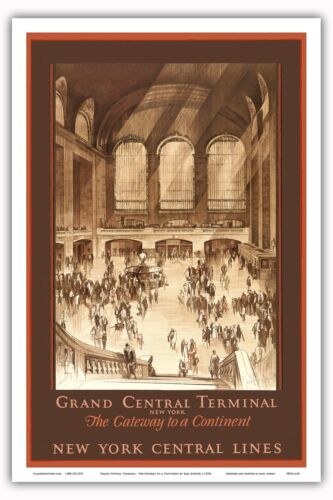 1920s Vintage Railroad Travel Poster Print Grand Central Terminal New York