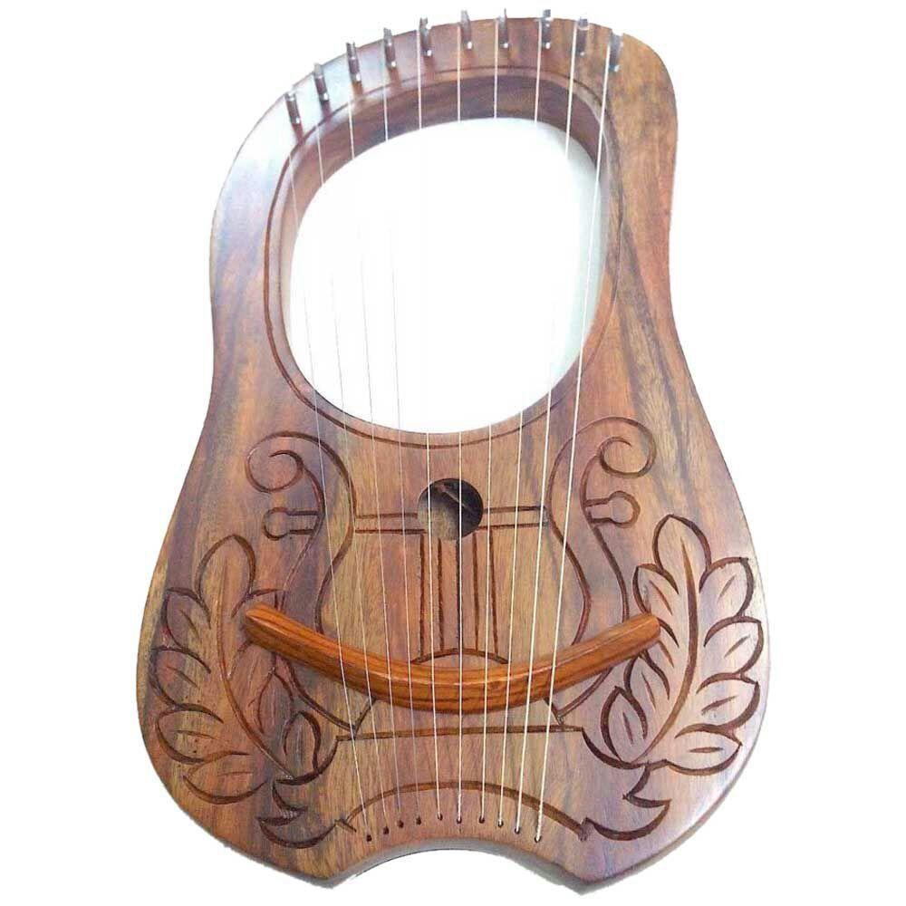 Cc Inciso Lira Harp Legno di Sheesham 10 Metal Corde Custodia da Trasporto+