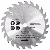 Carbide Tipped Wood Cutting Saw Blade 7-1/4 24 Teeth W 5/8 Arbor 7/8 Knock Out on sale