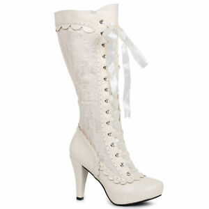 """Ellie 414-MARY White 4"""" Heel Boots"""