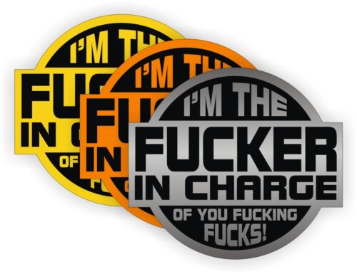 3 F**ker In Charge Hard Hat StickersHelmet DecalsFunny Foreman Labels USA