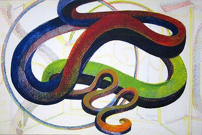 "AL HELD Signed 1986 Original Color Soft Ground Etching - ""Pablo Seven"""