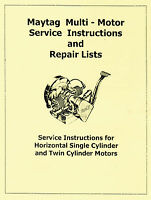 Maytag Multimotor Service Book 72 Twin Parts Gas Engine Model Hit Miss Serial